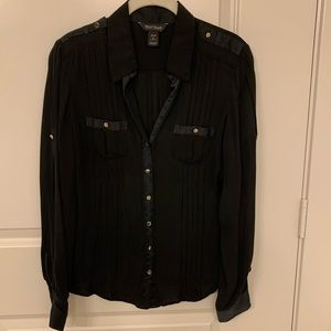 WHBM Black Silk Blouse Size 6